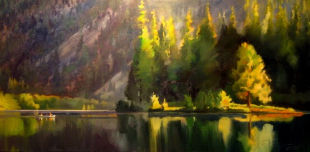 """""""Clear Lake  oil landscape painting"""" original fine art by Robin Weiss"""