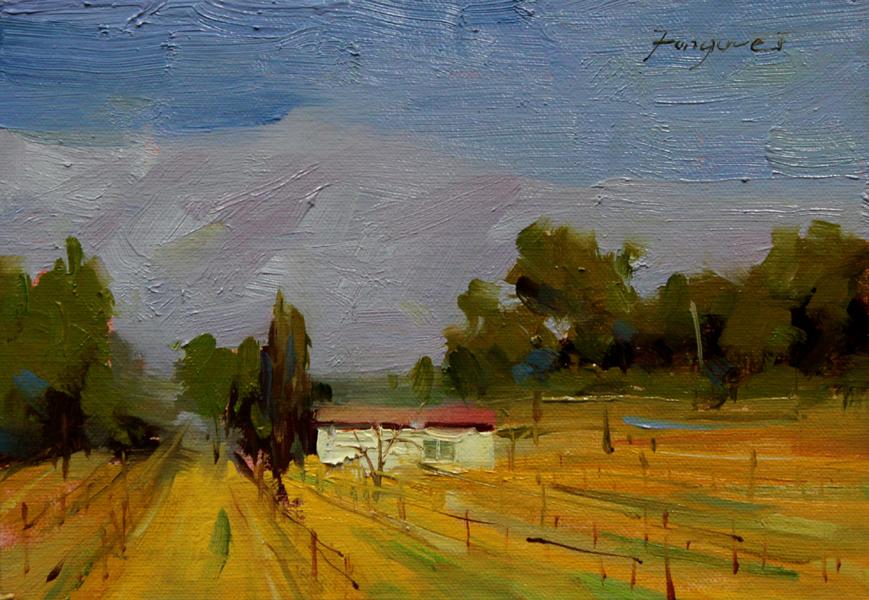 """Cottage in the vineyard"" original fine art by Fongwei Liu"