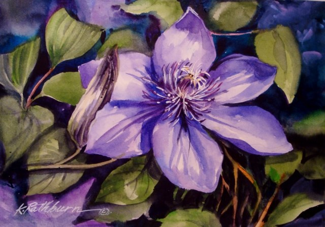 """Clematis"" original fine art by Kathy Los-Rathburn"