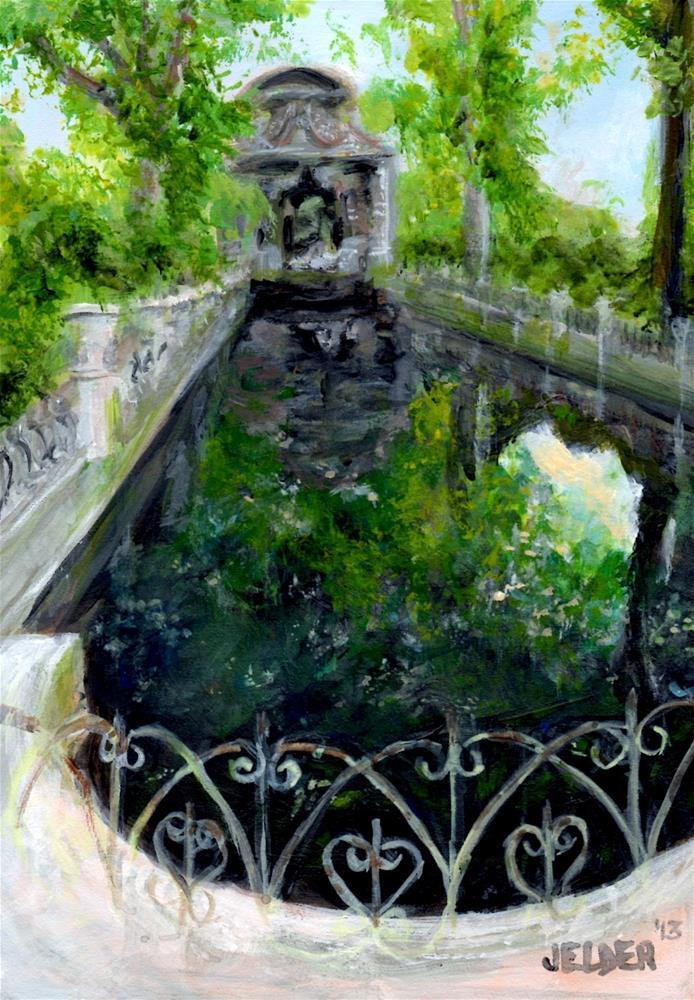 """Luxembourg Gardens No. 3 - The Medici Fountain"" original fine art by Judith Elder"