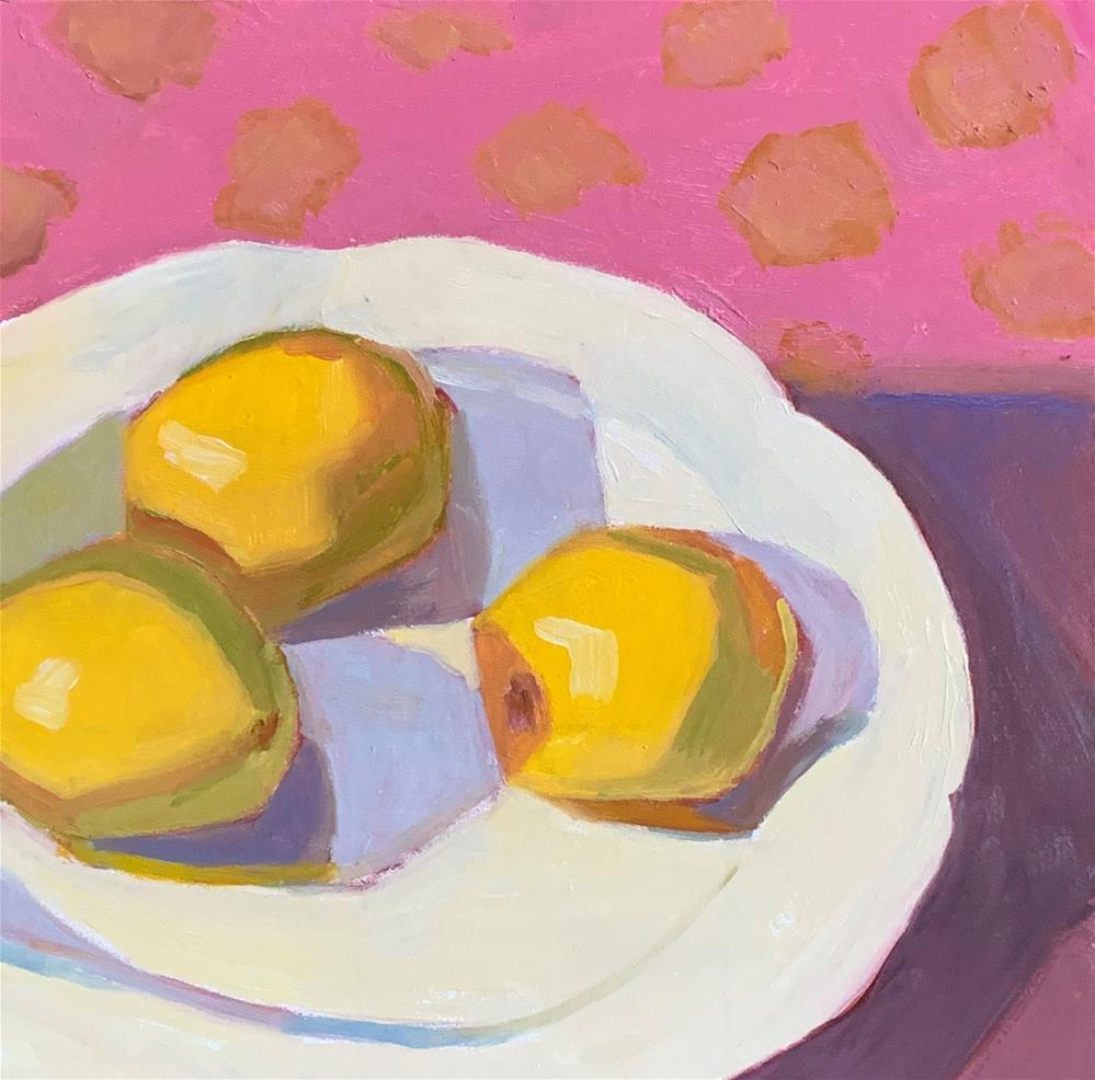 """Lemons and Pink"" original fine art by Sheila Longerbeam"