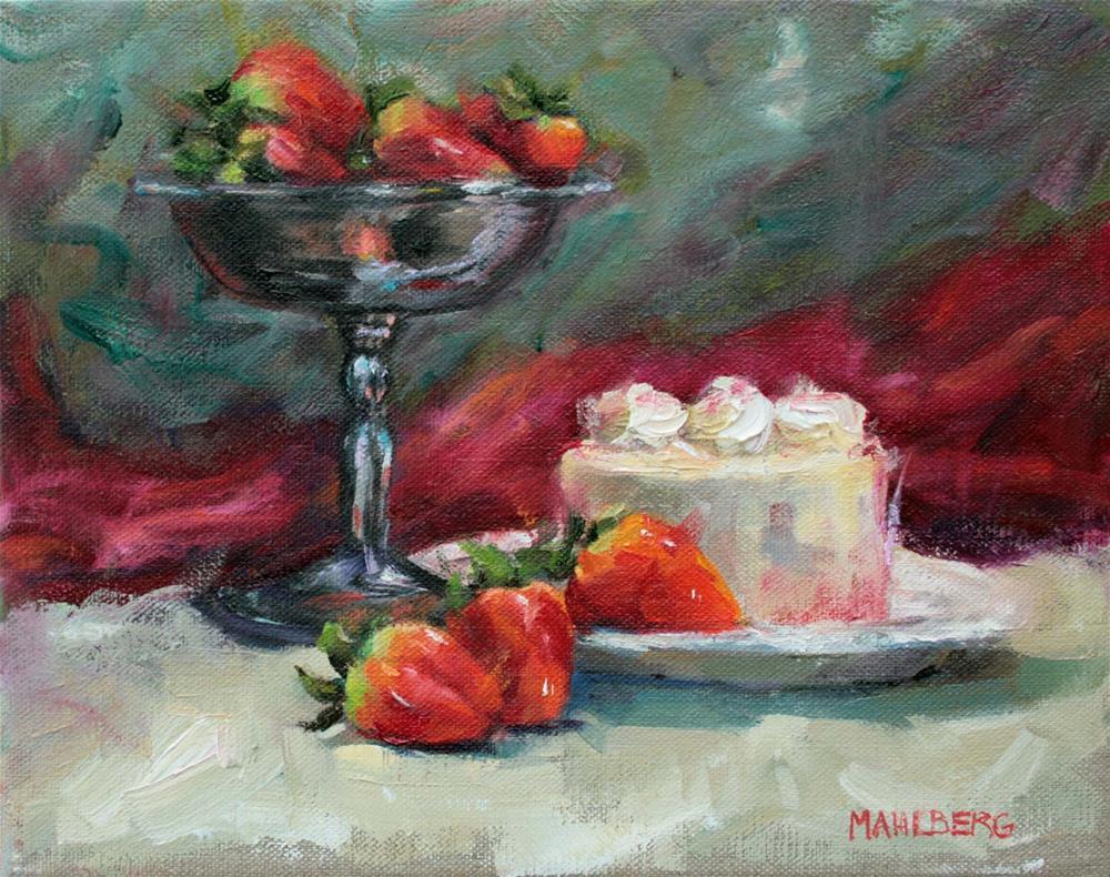 """Red Velvet & Strawberries"" original fine art by Cynthia Mahlberg"
