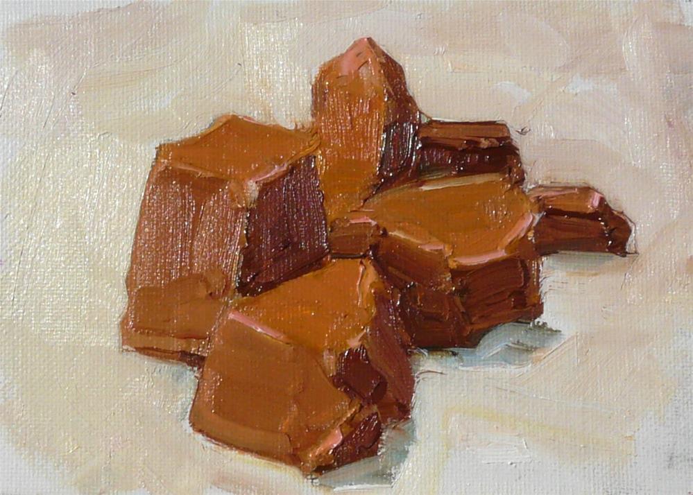 """Chocolate Chunks,still life,oil on canvas,5x7,priceNFS"" original fine art by Joy Olney"