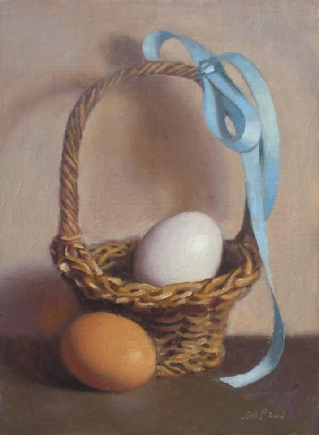 """Eggs and Basket II"" original fine art by Debra Becks Cooper"