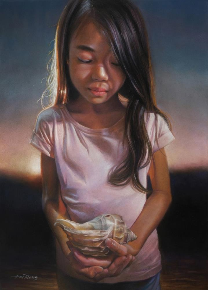"""Holding A Treasure From The Sea"" original fine art by TaiMeng Lim"