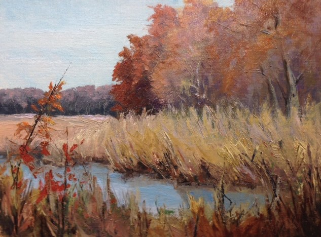 """Autumn Marsh View"" original fine art by Judith Anderson"