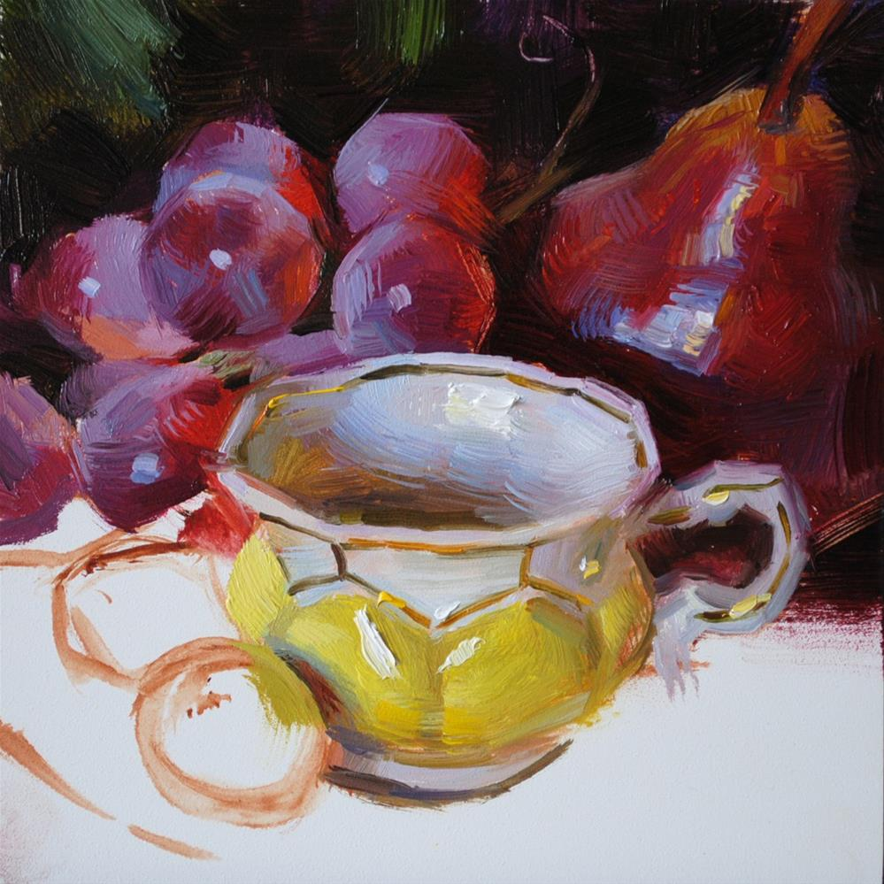 """Yellow Teacup and Fruit"" original fine art by Elena Katsyura"