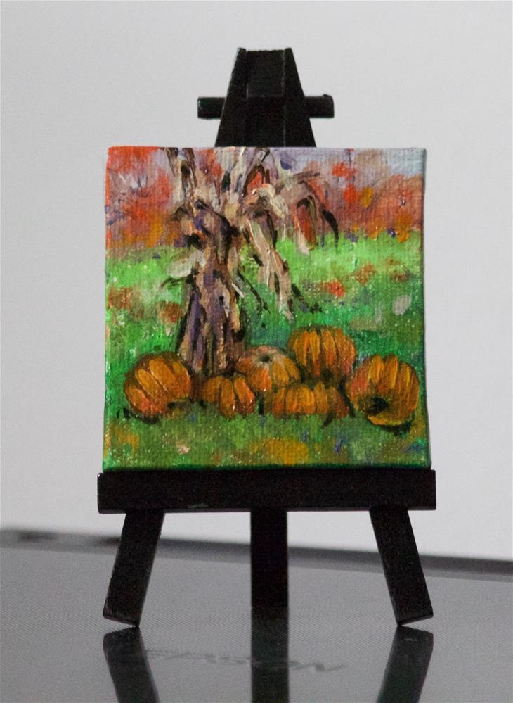 """""""Corn Stalks and Pumpkins"""" original fine art by Linda Eades Blackburn"""