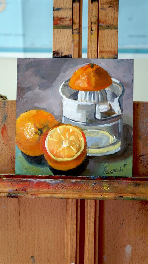 """Oranges and juicer"" original fine art by Dipali Rabadiya"