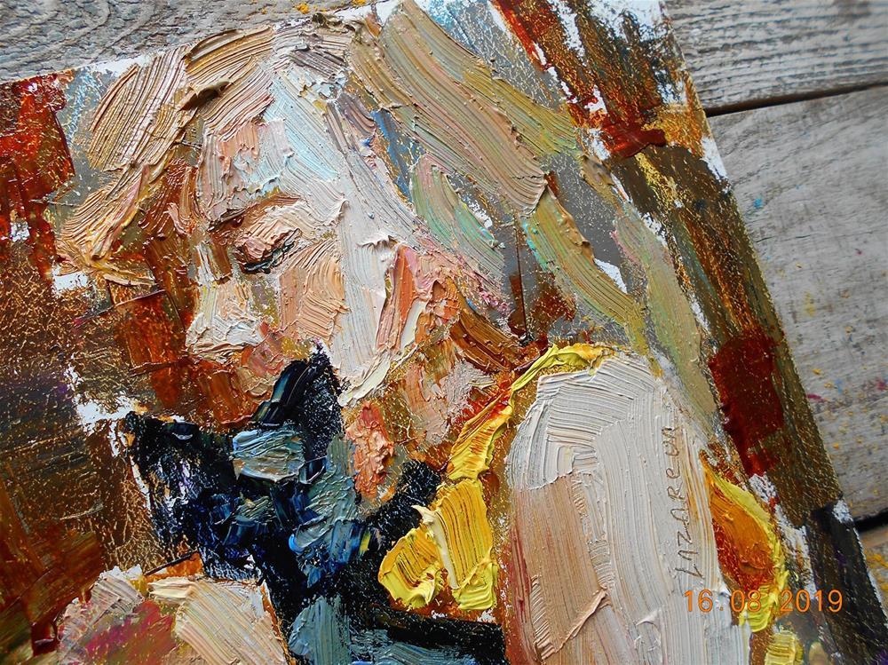 """Girl with a black kitten"" original fine art by Valerie Lazareva"