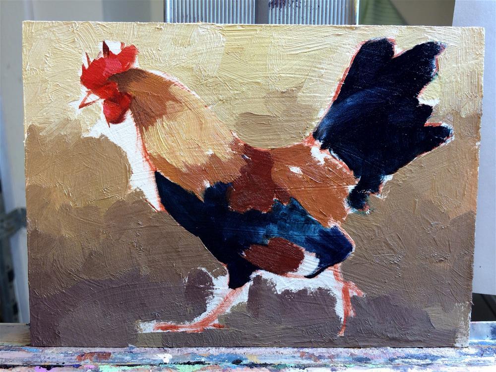 """Rooster Walk"" original fine art by Catherine Bobkoski"