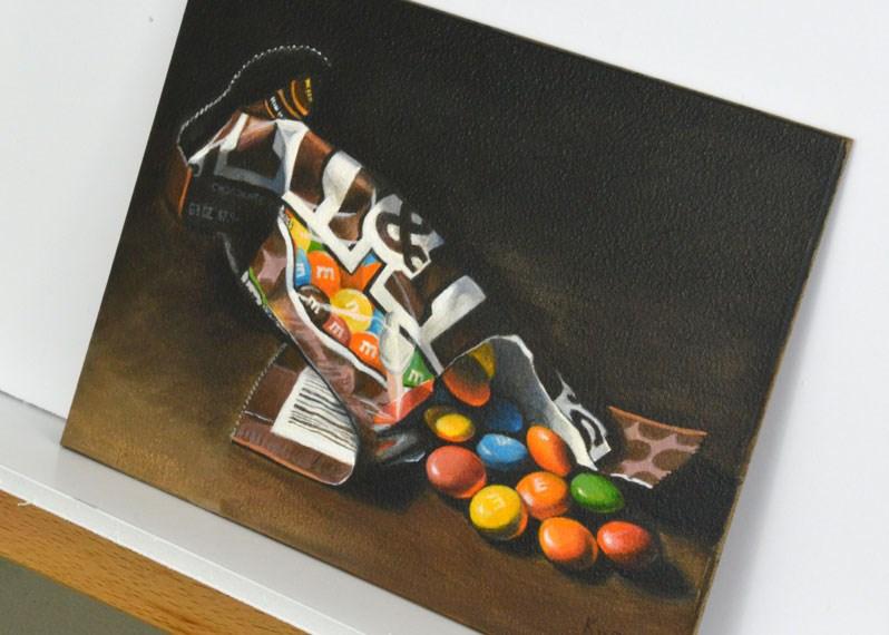 """Dramatic M & M's"" original fine art by Kim Testone"