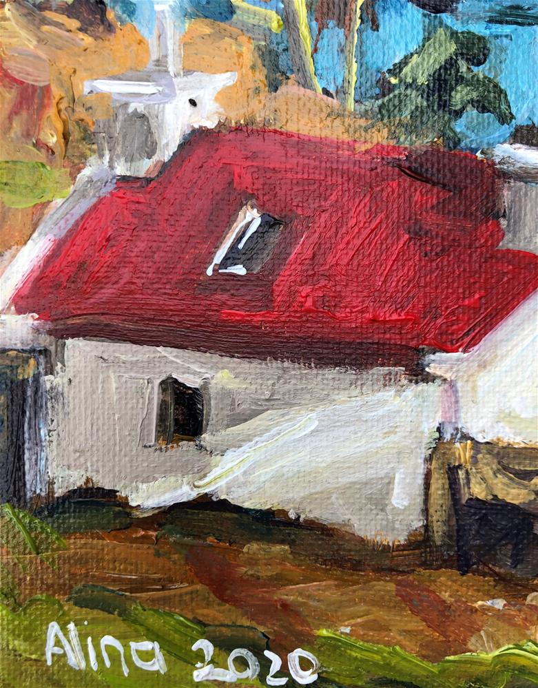 """Cottage in Sun"" original fine art by Alina Vidulescu"