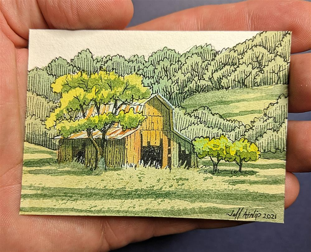 """""""Barn in the Field"""" original fine art by Jeff Atnip"""