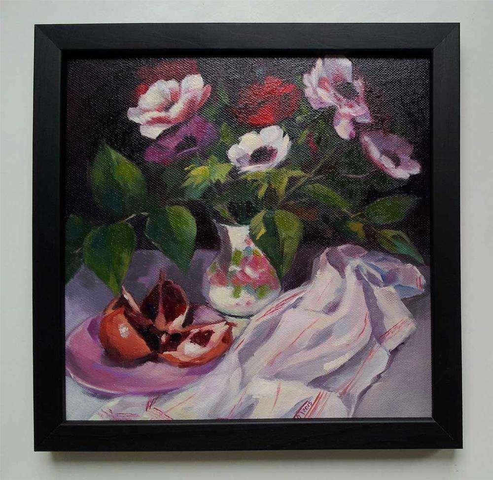 """Anemone flowers and pomegranate"" original fine art by Olga Touboltseva-Lefort"