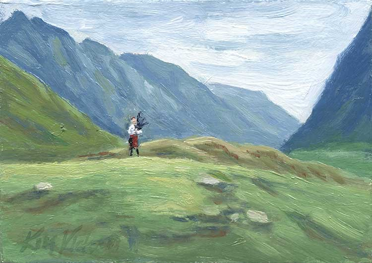 """Glen Coe Piper, Miniature, Scotland"" original fine art by Kim Victoria"