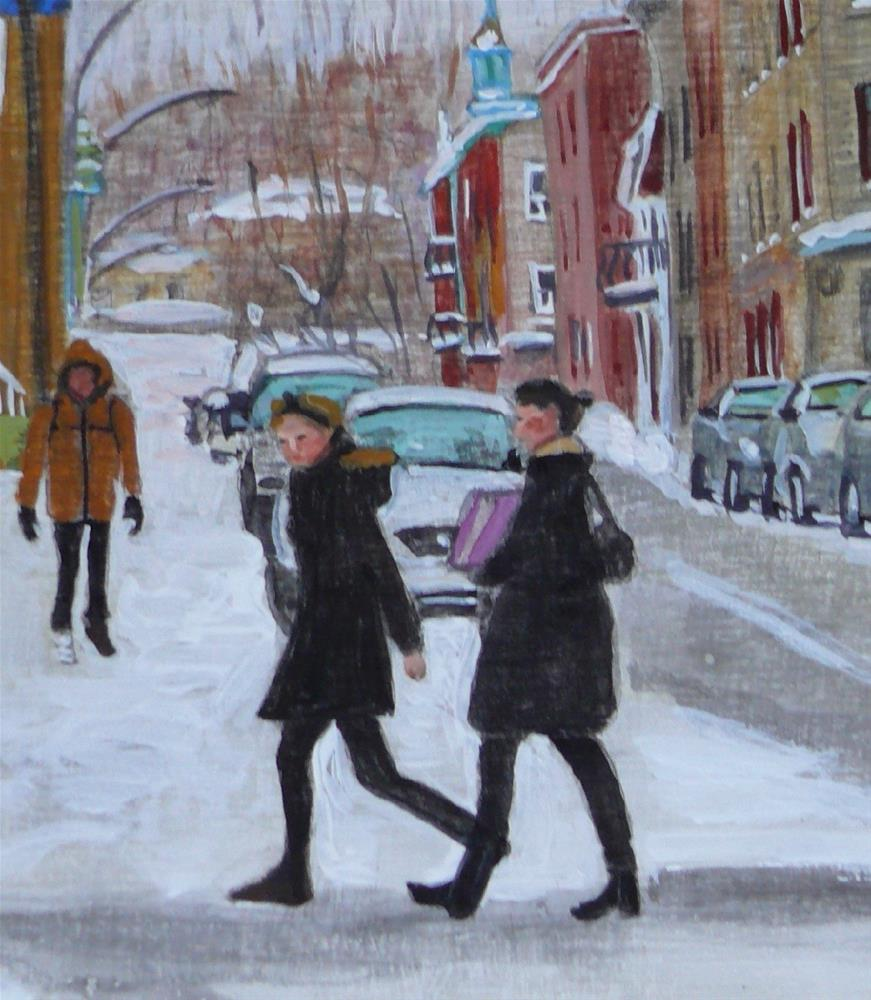 """1168  Heading Home, Le Plateau, 8x10, egg tempera"" original fine art by Darlene Young"