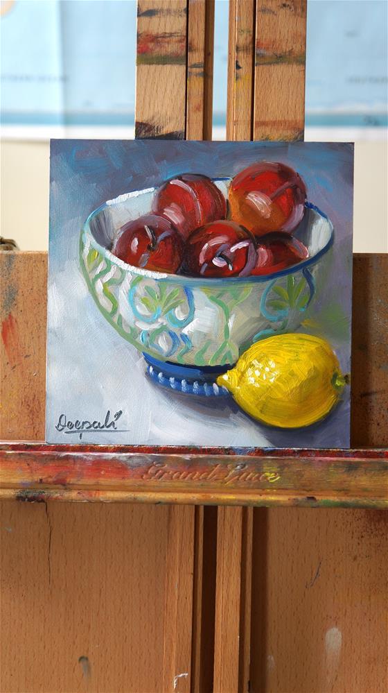 """Plums and lemon"" original fine art by Dipali Rabadiya"