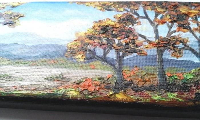 """""""Fall Trees and Mountains"""" original fine art by Camille Morgan"""