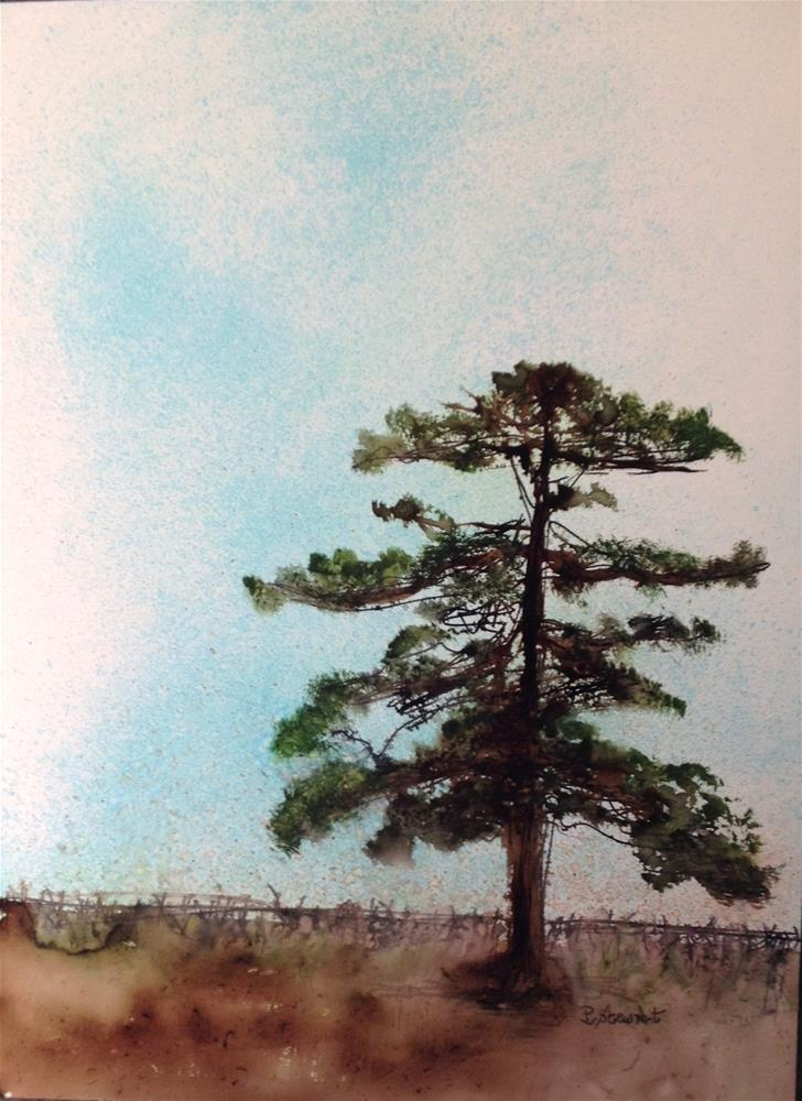 """""""9x12 Lone Tree on Yupo Paper Mixed Media Painting by Penny Lee StewArt"""" original fine art by Penny Lee StewArt"""
