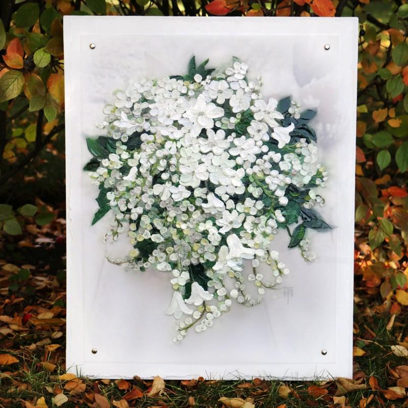 """Kate's Bouquet - Sample all-white wedding bouquet painting"" original fine art by Terri Heinrichs"
