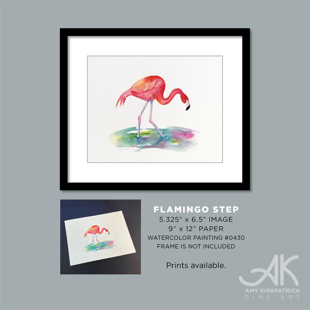 """FLAMINGO STEP #0430 (horizontal)"" original fine art by Amy Kirkpatrick"