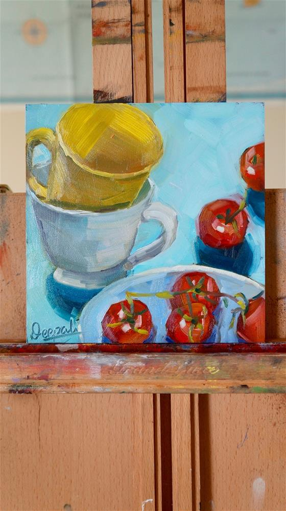 """staked cup with tomatoes"" original fine art by Dipali Rabadiya"