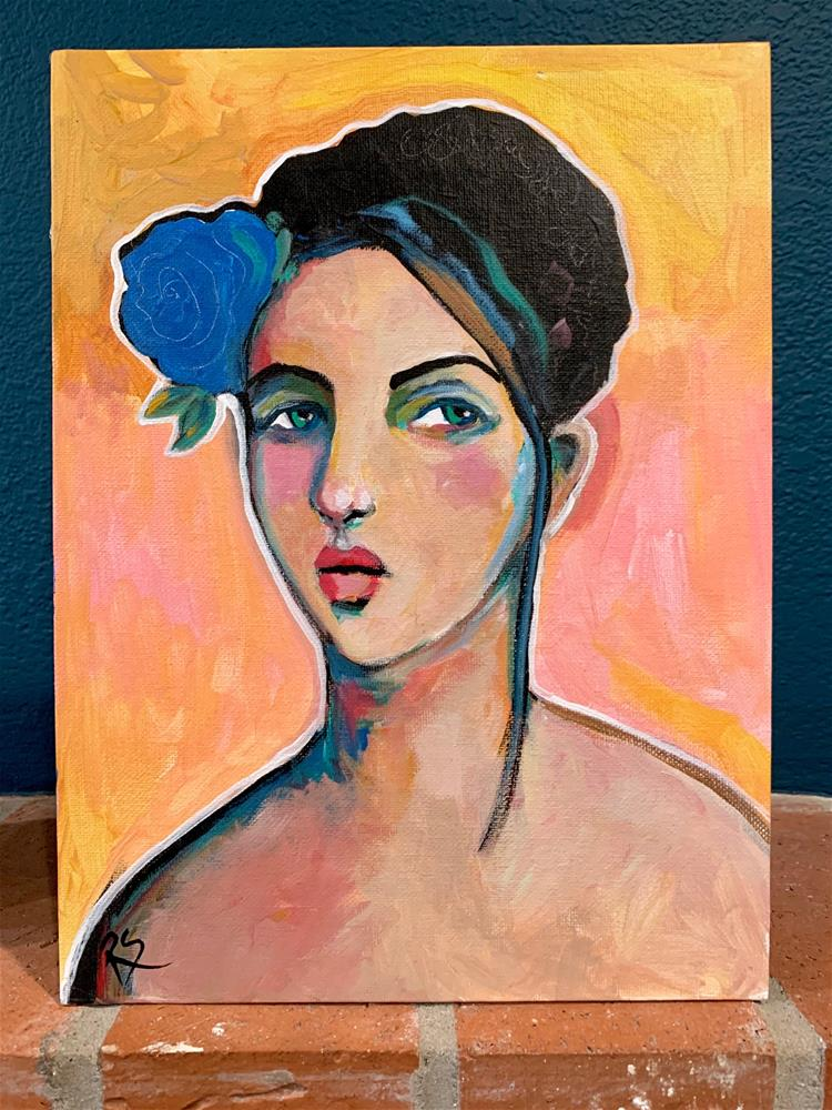 """#19 The Girl With the Blue Flower"" original fine art by Roberta Schmidt ArtcyLucy"