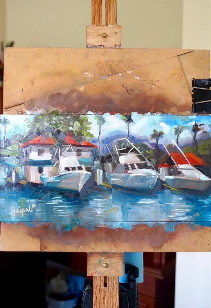 """The boats on pier"" original fine art by Dipali Rabadiya"