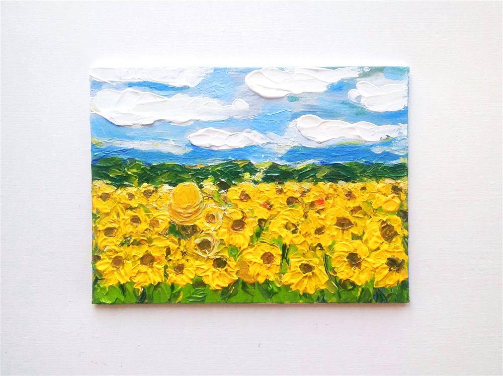 """Sunflowers Original Acrylic Painting on Cardboard"" original fine art by Elena Konysheva"