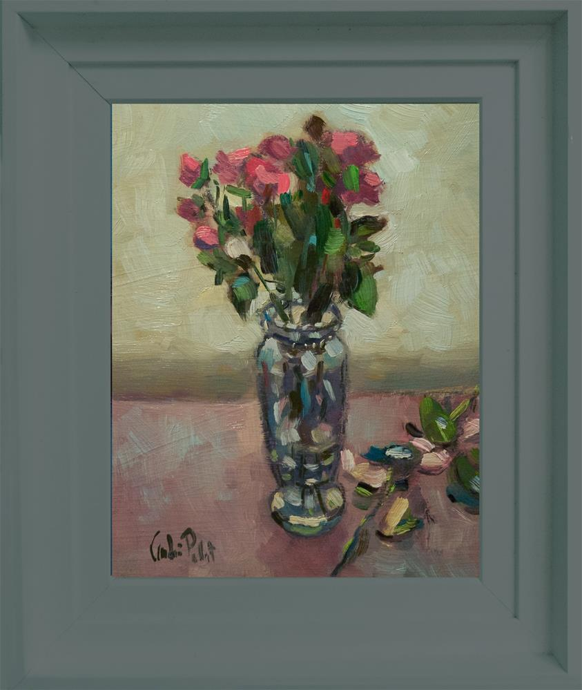 """Roses in Glass Vase"" original fine art by Andre Pallat"