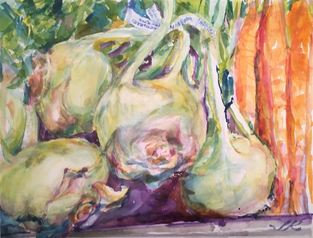 """Kohlrabi and Carrots"" original fine art by Jean Krueger"
