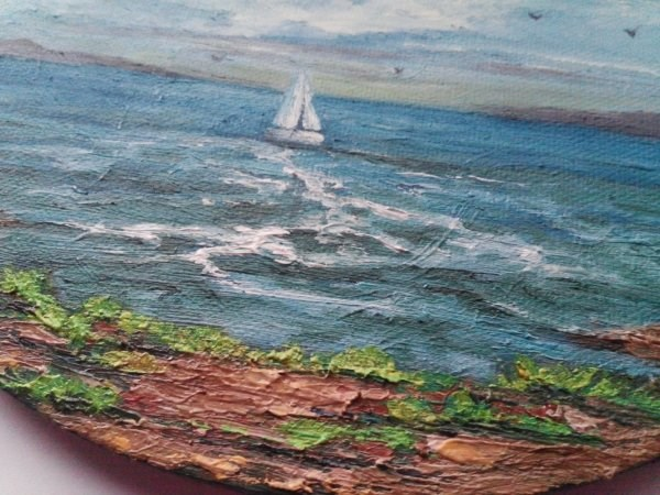 """""""Oil Painting Boat Seascape"""" original fine art by Camille Morgan"""