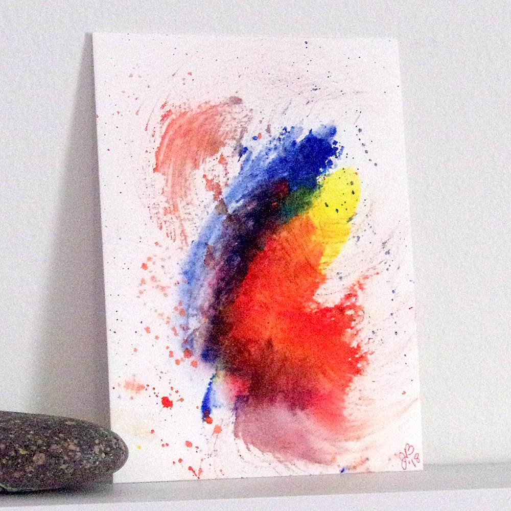 """Splash Study in Red, Yellow, and Blue"" original fine art by Jan Burch"