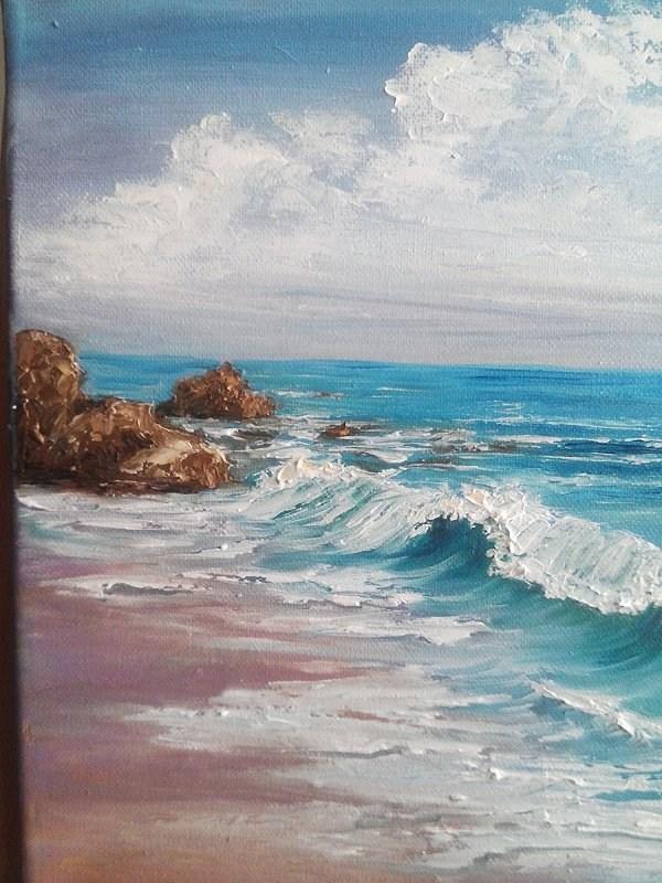 """Beach Ocean Waves Rocks Seascape"" original fine art by Camille Morgan"