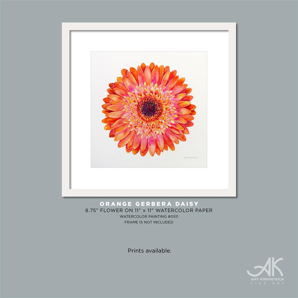 """ORANGE GERBERA DAISY #0511"" original fine art by Amy Kirkpatrick"
