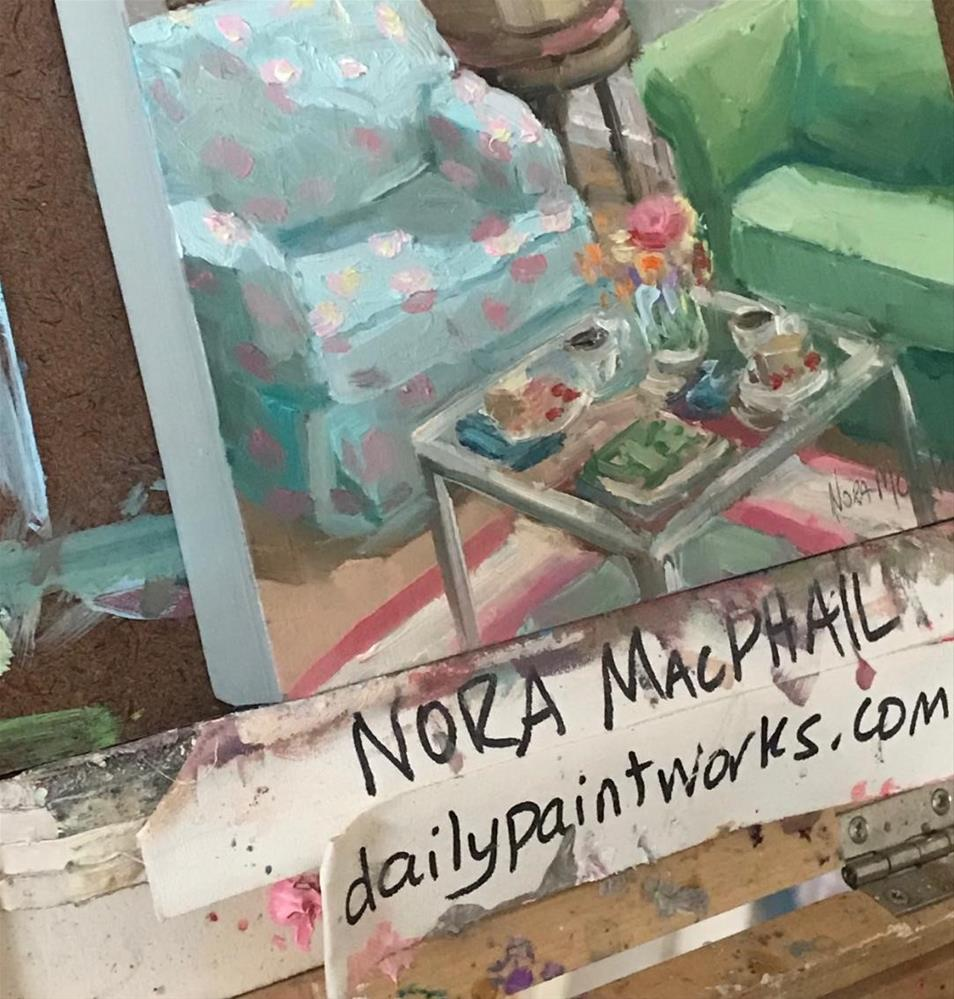"""tea and raspberry pie"" original fine art by Nora MacPhail"