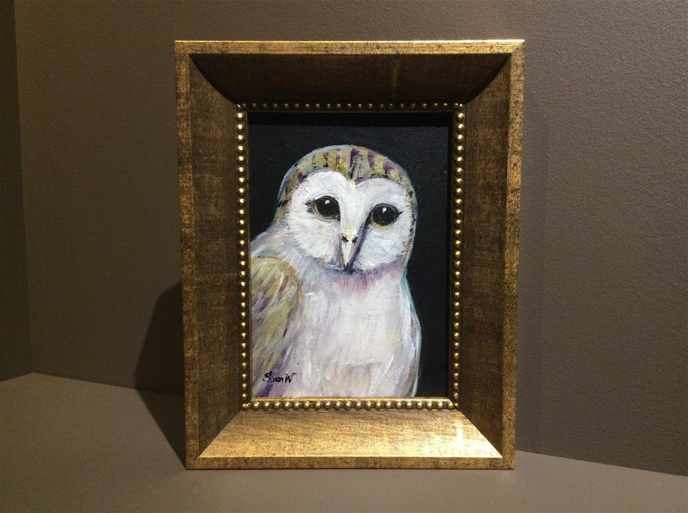 """""""Owl Painting 2"""" original fine art by Sonia von Walter"""