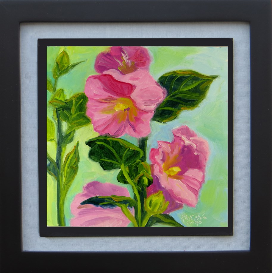 """Pink Hollyhocks"" original fine art by Rhett Regina Owings"