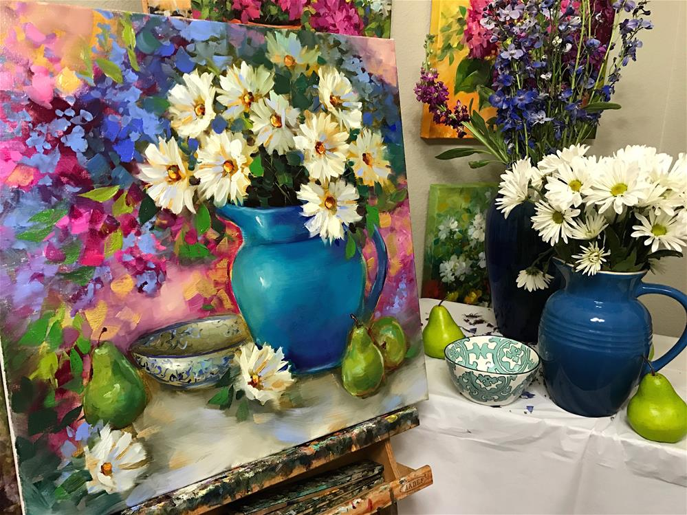 """""""Daisies and Pears and Delphiniums, Oh My"""" original fine art by Nancy Medina"""
