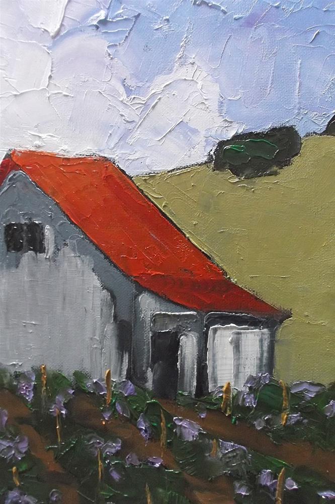 """""""California Los Altos Hills Vineyard Barn"""" original fine art by lynne french"""