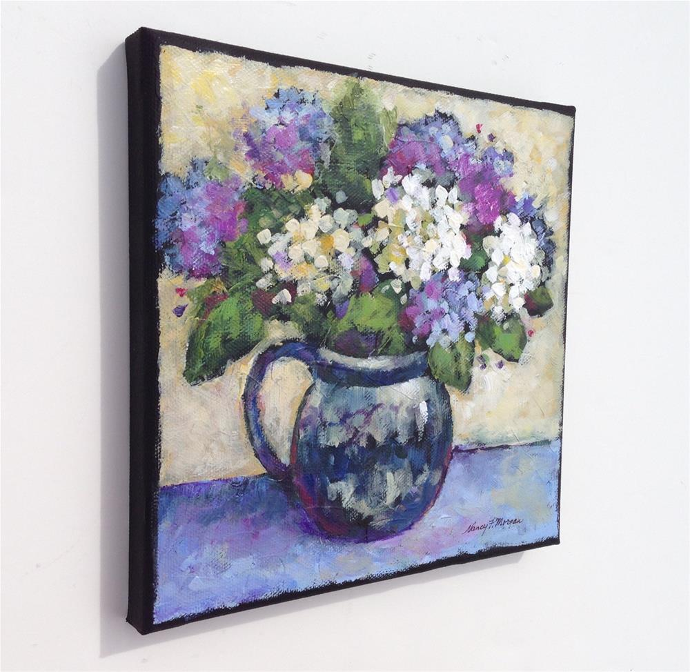 """Blue and White Hydrangeas"" original fine art by Nancy F. Morgan"