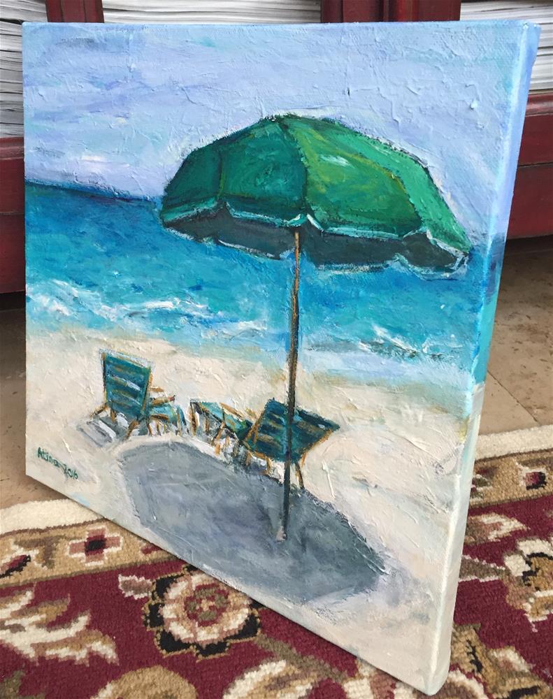 """""""Green Umbrella"""" original fine art by Alina Vidulescu"""
