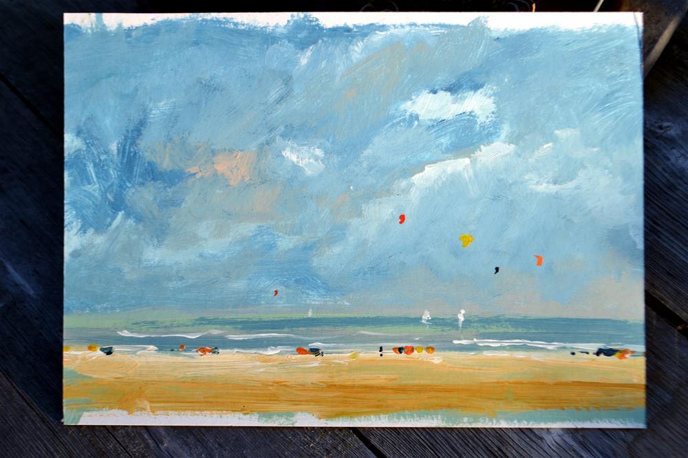 """Beach 17 August 2016"" original fine art by Wim Van De Wege"