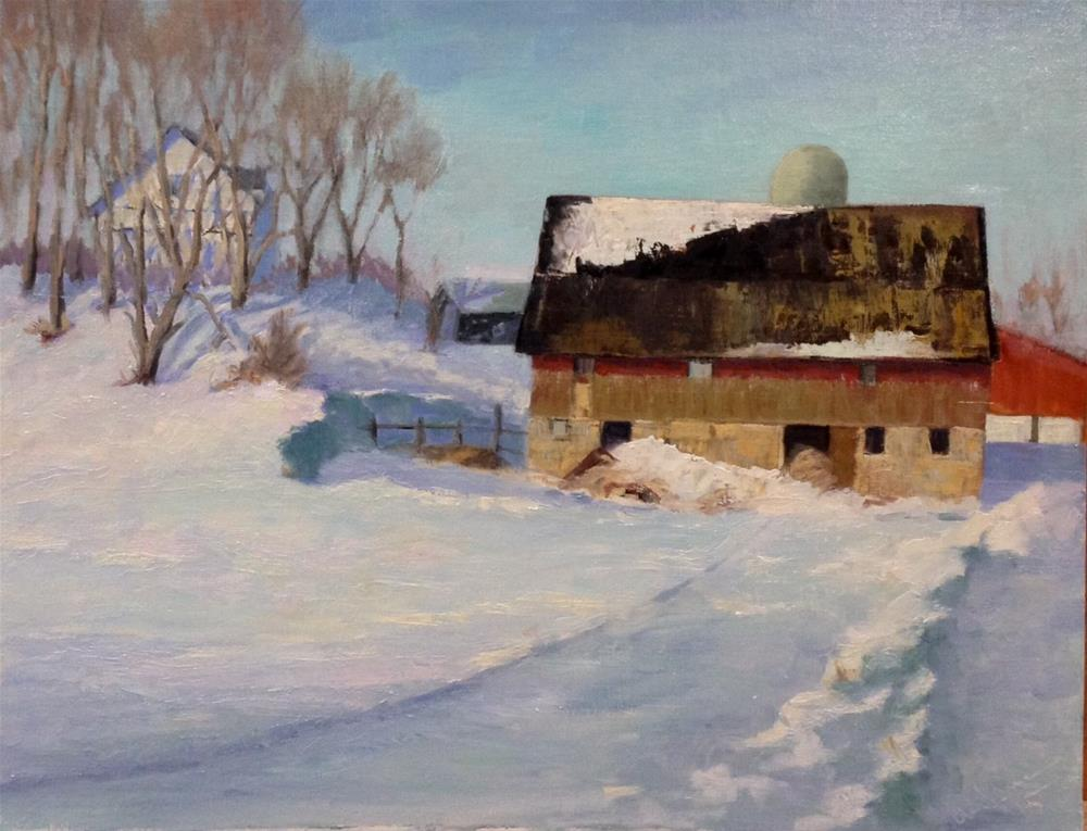 """Winter at the Farm"" original fine art by Judith Anderson"