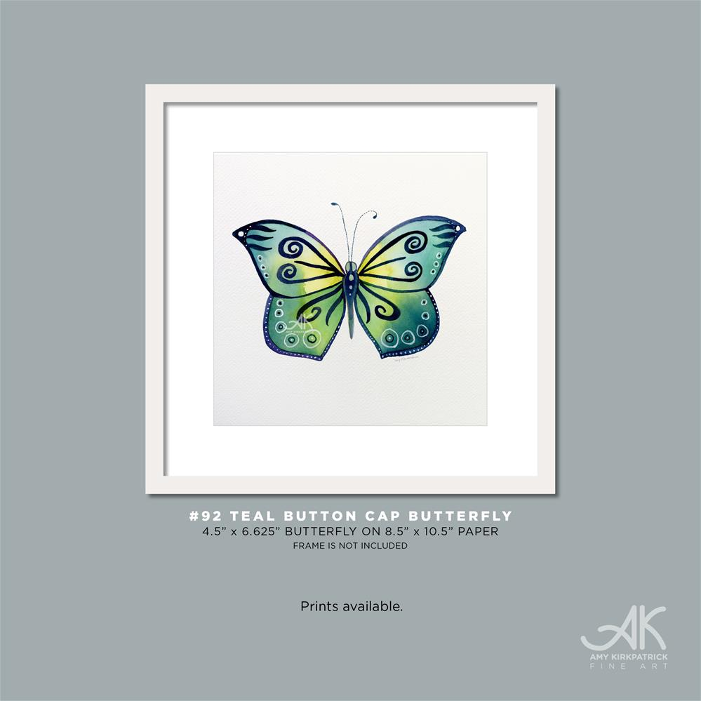"""#92 Teal Button Cap Butterfly"" original fine art by Amy Kirkpatrick"