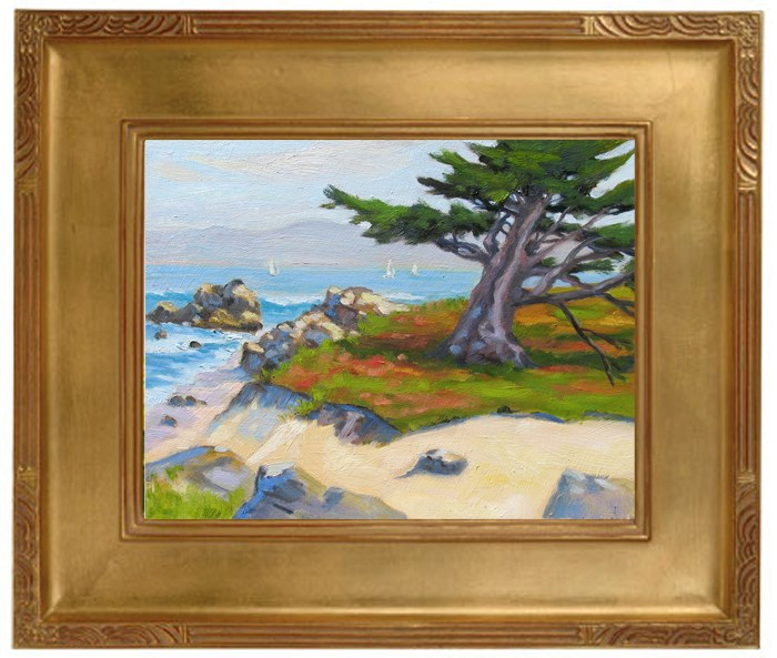 """Cypress and Ice Plant"" original fine art by Rhett Regina Owings"