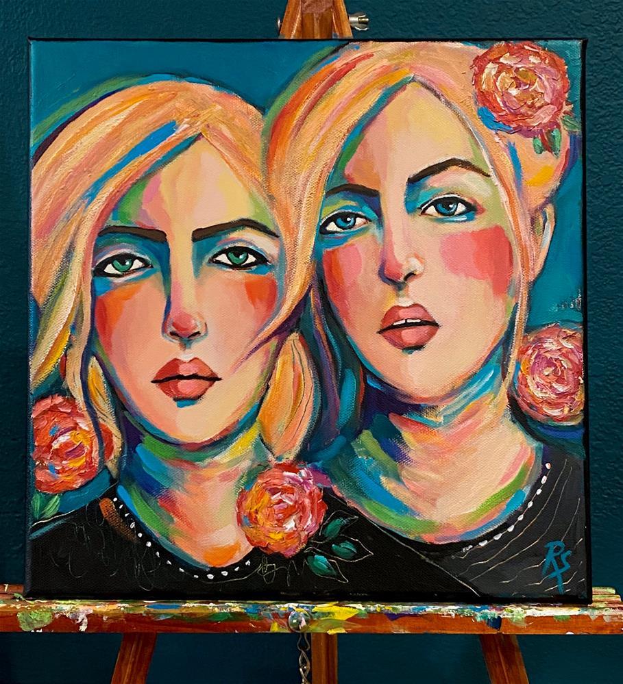 """The Sweetness of Sisters"" original fine art by Artcylucy Art by Roberta Schmidt"