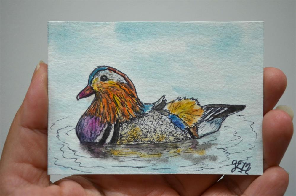 """Mandarin Duck Watercolor ACEO"" original fine art by Gloria Ester"