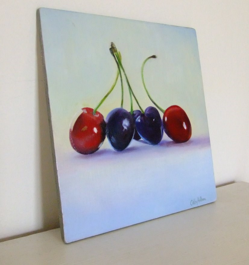 """Cherries"" original fine art by Cathy Holtom"